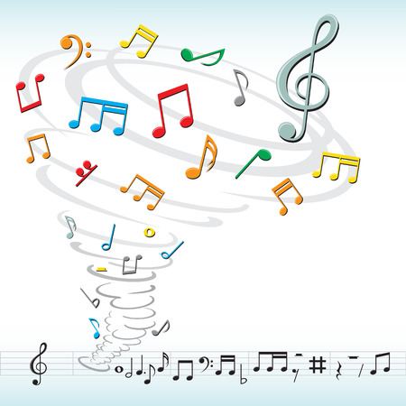 tornado destroys a musical notes Vettoriali