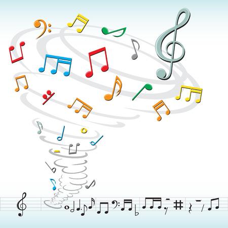 tornado destroys a musical notes Illustration