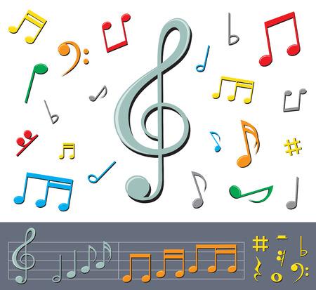 simbolos musicales: conjunto de notas de color b�sico y signos con sombras sobre el fondo blanco