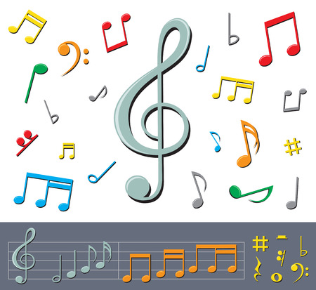 musical notes: set of basic color notes and signs with shadows on the white background Illustration