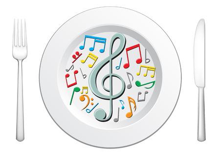 viertelnote: Unsere Lebensmittel sind Musik, Geschirr und musikalischen Notizen in der Platte auf dem wei�en Hintergrund  Illustration