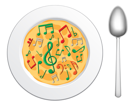 semibreve: Our food are music, musical soup in the plate on the white background  Illustration