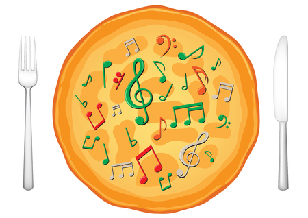 Our food are music, musical pizza on the white background  Ilustração
