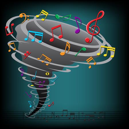 clef de fa: La tornade de notes de musique sur le fond sombre