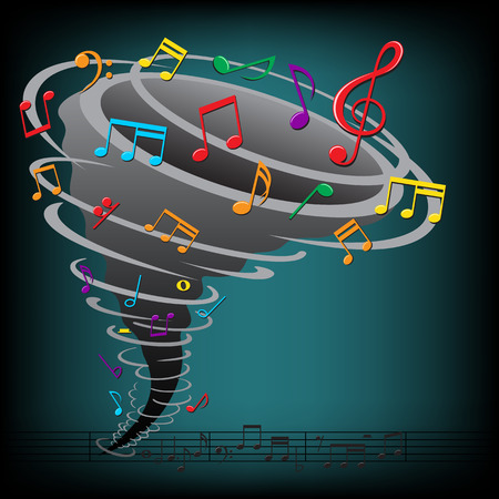 hurried: The music notes tornado on the dark background