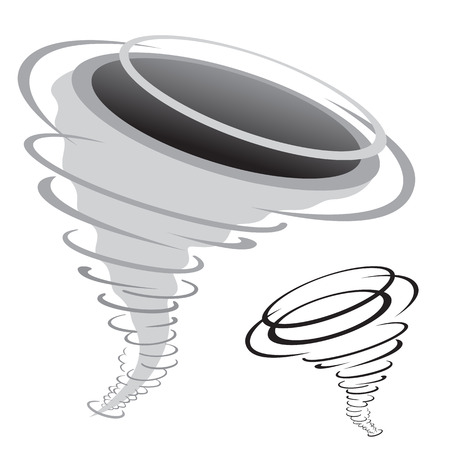 hurried: cartoon tornado isolated on the white background Illustration