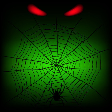 crawlies: spider web and red divil eye on the dark background