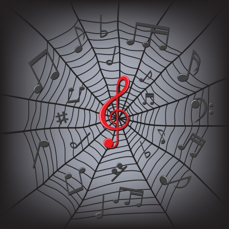 black music notes and red clef on the center in the spider web