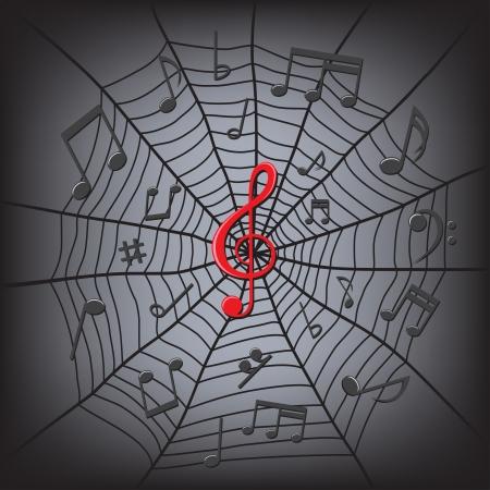 viertelnote: schwarz Music Notes und red Notenschl�ssel in der Mitte in der Web-spider