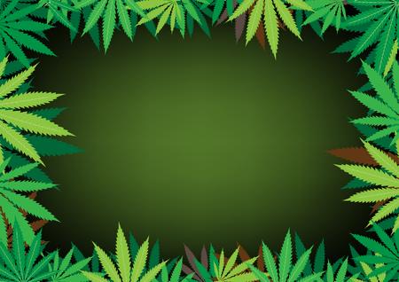 El cáñamo verde, fondo de marco oscuro de hoja de cannabis