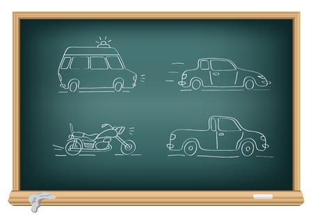 Drawing cars by a chalk on the classroom blackboard Vector