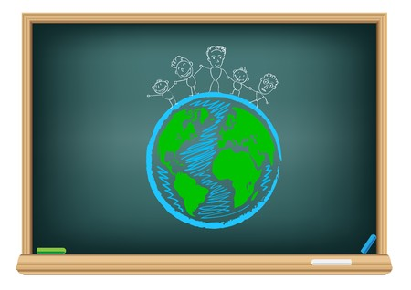Drawing children and earth by a chalk on the classroom blackboard Vector