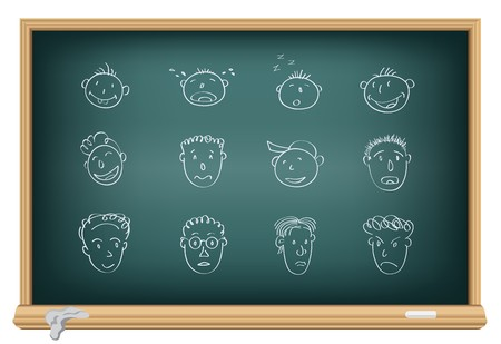Drawing faces by a chalk on the classroom blackboard Stock Vector - 7745300