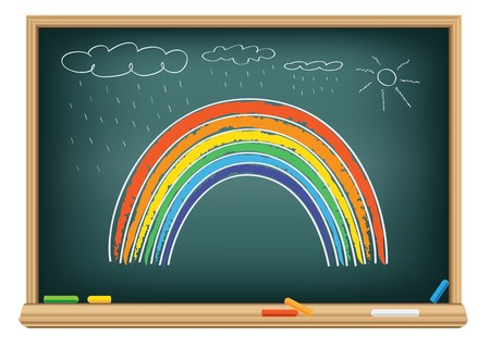 Drawing rainbow by a chalk on the classroom blackboard Ilustração