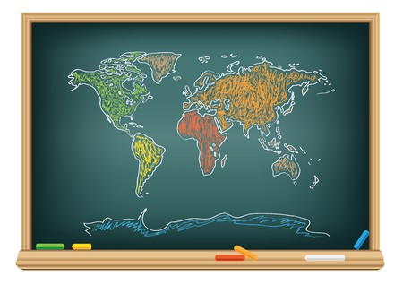human geography: Drawing world map by a chalk on the classroom blackboard