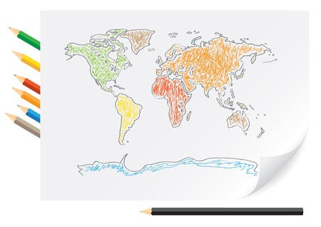 Drawing world map by a color pencils on the white paper Ilustração