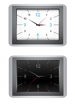 The modern office clocks, black and white dial, isolated on the white background Stock Vector - 7822024