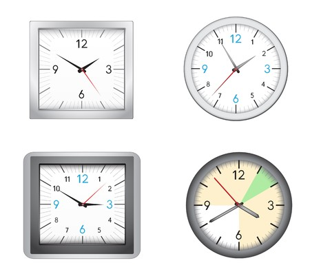 The modern office clocks isolated on the white background