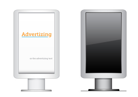 The citylight, vertical advertising billboard isolated on the white background