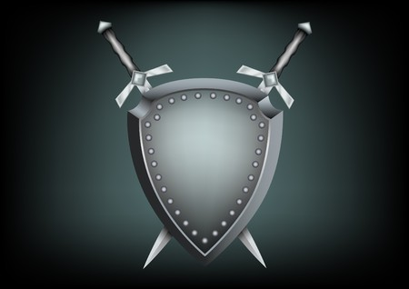 The safety shield and warrior swords on the dark background Ilustração