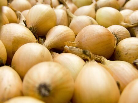A pile of beautiful bulb onions on a counter photo