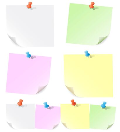 Announcements on pieces of paper pinned of push pins  Vector