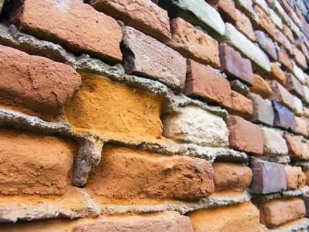 The old red brick macro wall photo