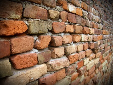 The old red brick macro wall with black framework Stock Photo - 8053898