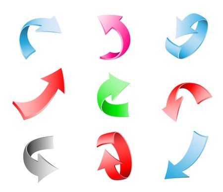 Verschillende multi-colored 3d pijlen geïsoleerd op de witte achtergrond Vector Illustratie
