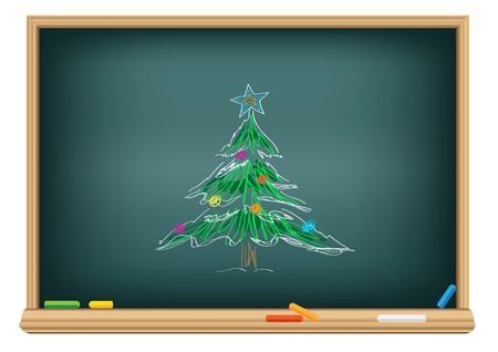 Drawing christmas fir by a chalk on the classroom blackboard Vettoriali