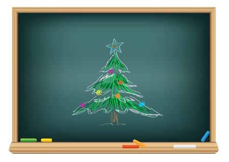 Drawing christmas fir by a chalk on the classroom blackboard Illusztráció