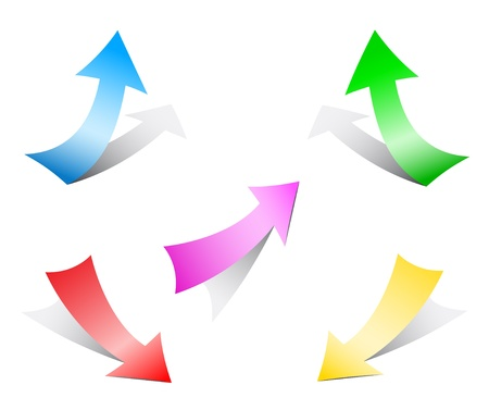 flechas curvas: flechas de papel