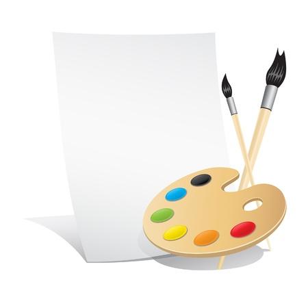 painter palette: Set of the artist vertical