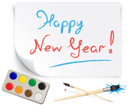 childrens drawing happy new year on the white paper