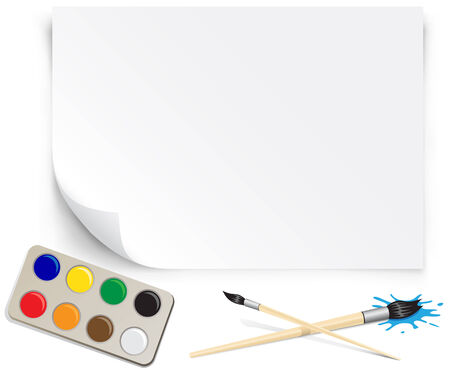 Set of the young artist paper palette brushes Vector