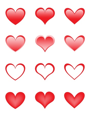 set of the beautiful hearts Vector