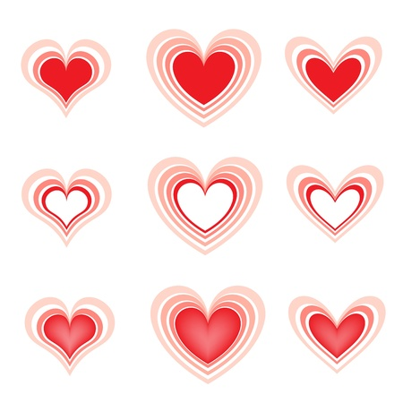 set of the beautiful hearts2 Stock Vector - 8596137