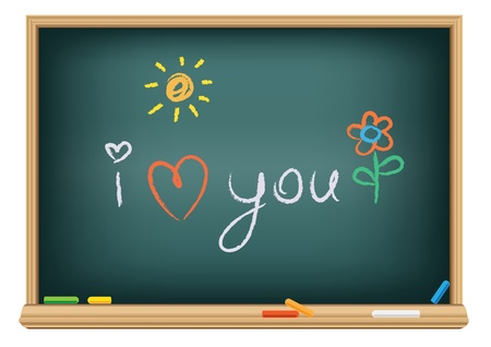 love words: Drawing i love you by a chalk