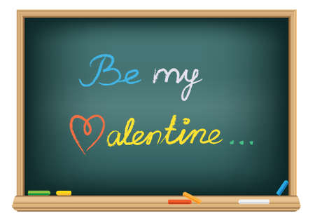 Drawing be my valentine by a chalk Stock Photo - 8638211