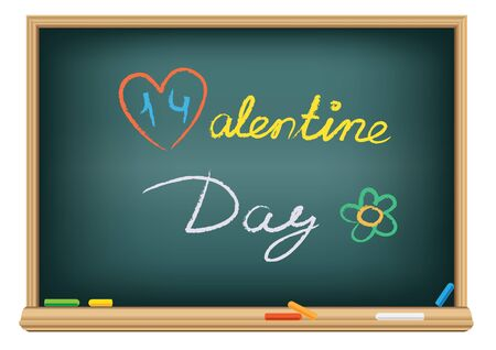 Drawing valentine day by a chalk Stock Photo - 8638212