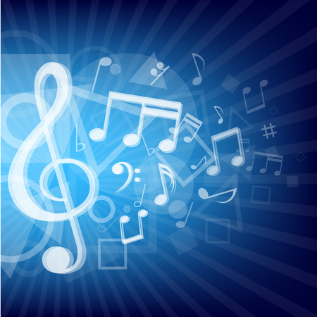 The modern abstract music notes and geometrical shapes blue background