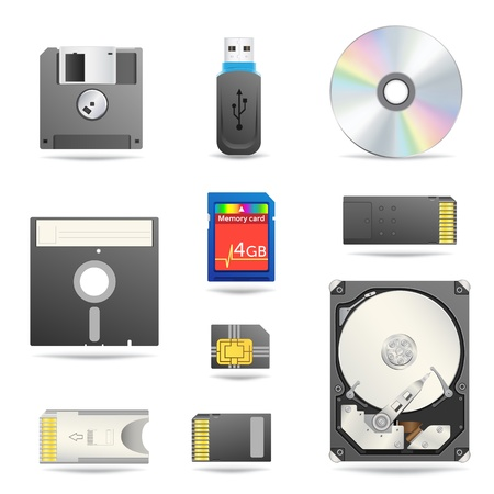 compact disk: Conjunto de iconos de dispositivos de datos digitales