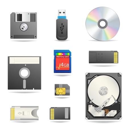Conjunto de iconos de dispositivos de datos digitales Ilustración de vector