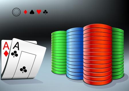 gambling chip: fichas de p�quer y dos ases