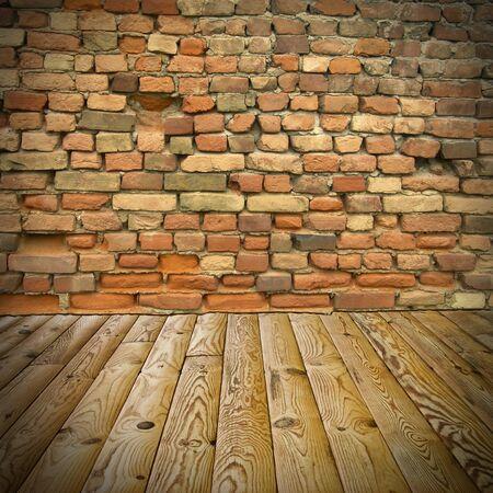 pine floor and brick wall photo