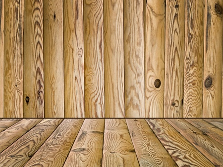 balk: wooden floor and wall Stock Photo