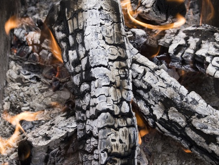 ashes: The firewood burning for cooking grill or barbecue