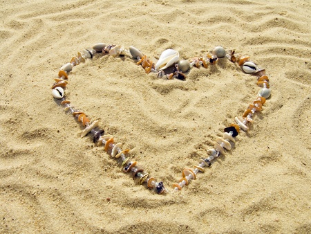 Heart from cockleshells and sea pebbles laid out on sand Stock Photo - 10383005