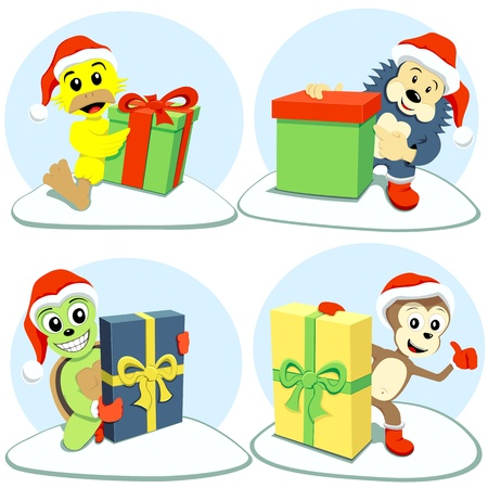 duck feet: The happy cartoon animals holding different Christmas gifts
