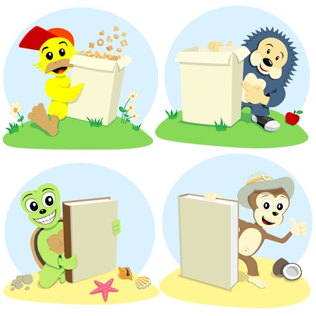 The cartoon animals represent book and paper box for cornflake Vector